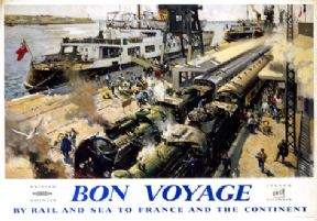 Vintage Travel Poster, Bon Voyage, Rail and Sea Poster, France